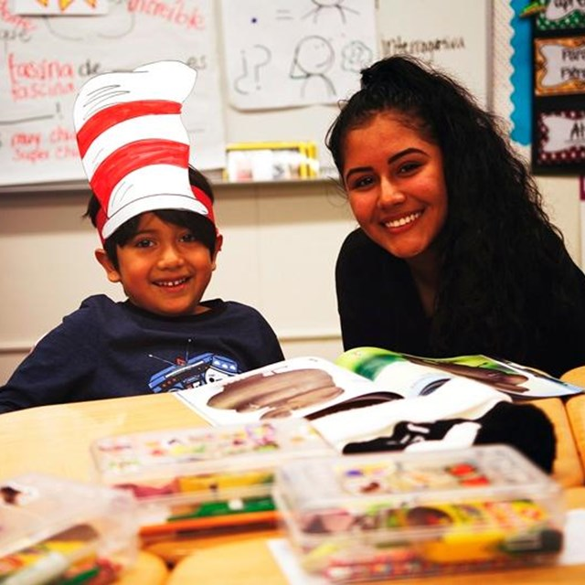 Our students welcome Los Amigos High School students into our classrooms for the Read Across America Week!
